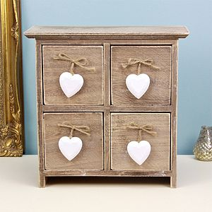 Set Of Drawers With Hanging Hearts - furniture