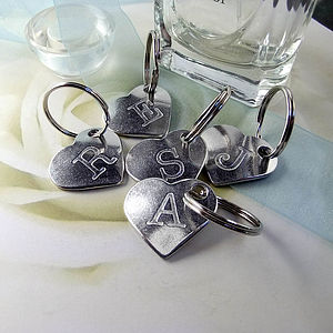 Personalised Initial Pewter Heart Keyring - keyrings