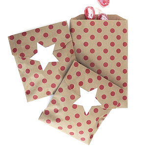 Red Polka Dot Brown Paper Bags - gift bags & boxes