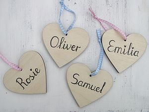 Natural Wooden Personalised Heart - heart favours
