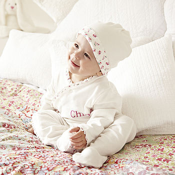 Personalised Ditsy Trim Baby Sleepsuit Set