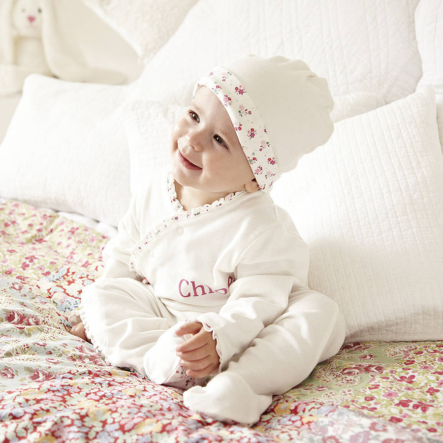 Baby Sleepsuits. Make their first wardrobe extra-special with our super-soft cotton and velour baby sleepsuits. Paired with a bib or comforter, they also make a lovely gift for new parents.