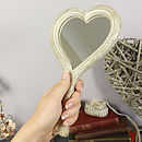 Wooden Heart Hand Mirror
