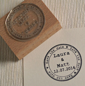 Round Save The Date Personalised Stamp - diy stationery