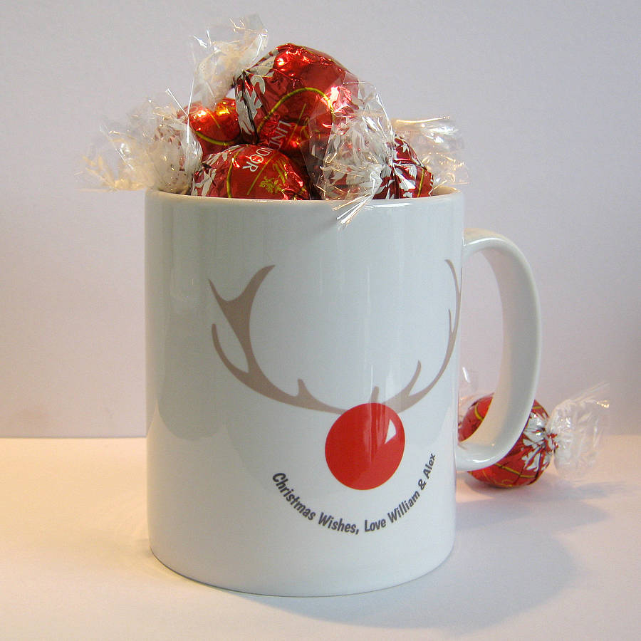 personalised christmas rudolph reindeer mug by name art. Black Bedroom Furniture Sets. Home Design Ideas