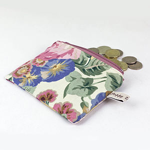 Coin Purse Vintage Rose And Peony Print