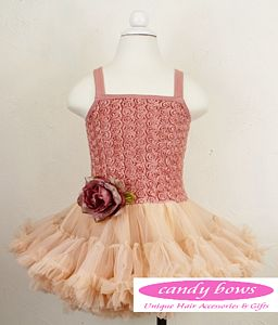 Tea Rose Pettidress With Detachable Rose