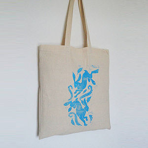 Playing Hares Cotton Tote Bag - children's easter