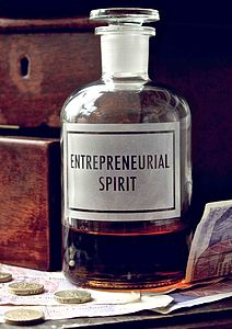 Etched Bottle 'Entrepreneurial Spirit' - tableware