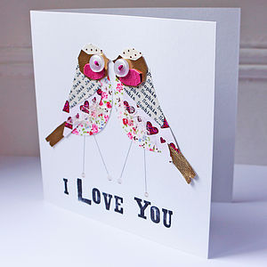 Personalised Love Bird Card - wedding, engagement & anniversary cards