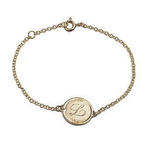 Personalised 9ct Gold Medal Chain Bracelet
