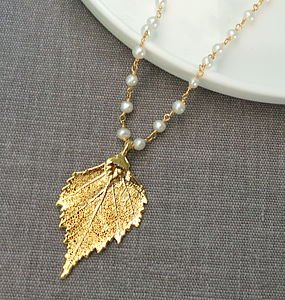 Gold Birch Leaf And Pearl Necklace - necklaces & pendants