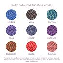 Sumba multicloured cord colour chart