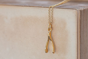 Gold Wishbone Necklace - lucky charm jewellery