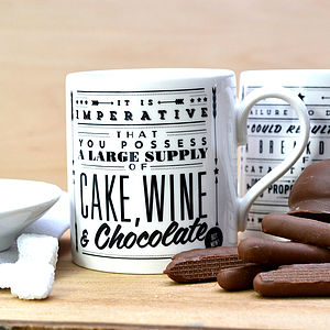 'Cake Wine Chocolate' Retro Mug