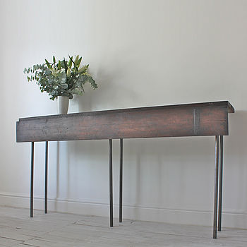 Reclaimed Console Table With Hinged Drop Leaf