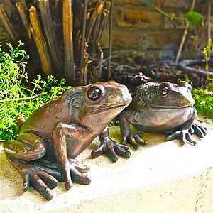 Pair Of Frog Garden Sculptures