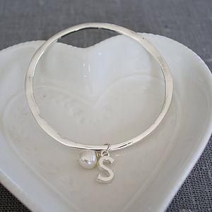 Initial Charm Bangle - women's jewellery