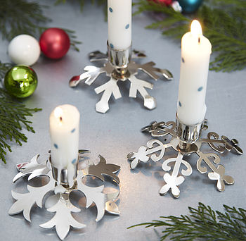 Three Snowflake Candlesticks