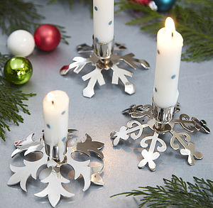 Three Snowflake Candlesticks - dining room
