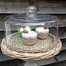 Wicker Base Cake Plate With Glass Dome