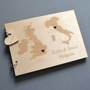 Personalised Duo Destination Map Guest Book - wedding day tokens