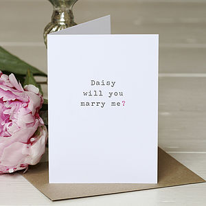 Personalised 'Will You Marry Me' Card - proposal ideas
