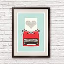 Love Typewriter Retro Framed Print