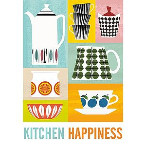 Kitchen Happiness Retro Framed Print