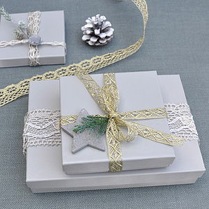 Metallic Crochet Lace Ribbon - metallic christmas