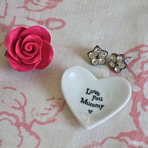 'Love You Mummy' Tiny Porcelain Heart Dish - jewellery storage & trinket boxes