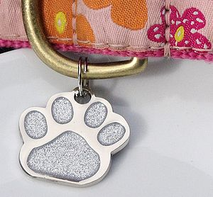 Personalised Glitter Paw Pet Id Tag - dogs
