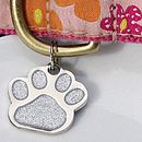 Personalised Glitter Paw Pet Id Tag