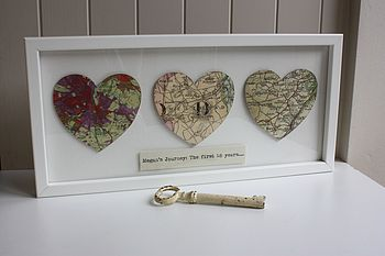 Vintage Map Heart Artwork
