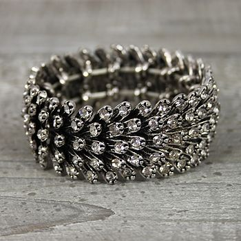 Crystal Metal Feather Bracelet