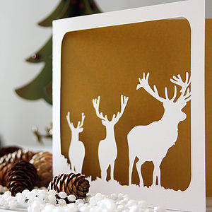 Stags Silhouette Christmas Card