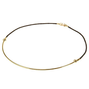 Cord half moon necklace in gold