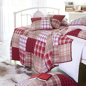 Red And Cream Tartan Patchwork Quilt - bedroom