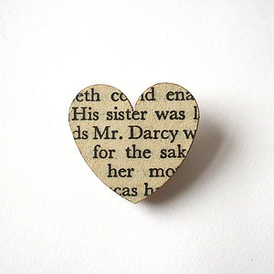 Pride And Prejudice Book Page Brooch - pins & brooches