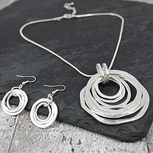 Pewter Hoop Necklace And Earrings Set - necklaces & pendants