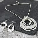 Pewter Hoop Necklace And Earrings Set