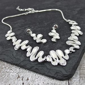 Wavey Necklace And Earrings Set - necklaces & pendants