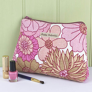 Make Up Bag Vintage Pink Floral Print - make-up bags