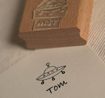 Personalised Spaceship Rubber Stamp
