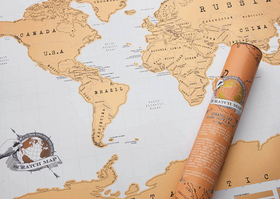 scratch off® 'push pin' world map bundle by luckies ...