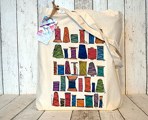 Thread Spools Illustration Cotton Tote Bag