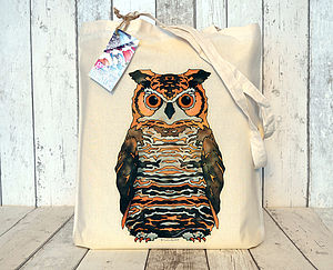 Eagle Owl Illustration Cotton Tote Bag