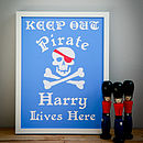 Childrens Personalised Pirate Print