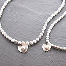 Pearl Heart Necklace - Silver