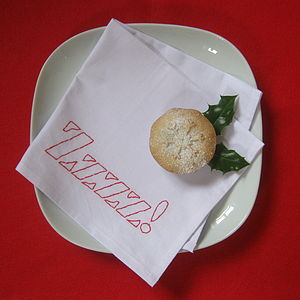 Embroidered Xmas 'Zzzz!' Cotton Napkin - party tableware